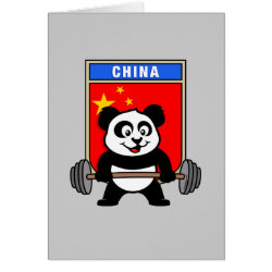 Chinese Weightlifting Panda Greeting Card