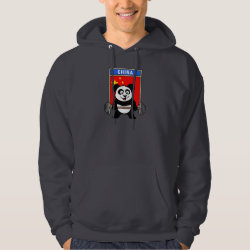 Men's Basic Hooded Sweatshirt with Chinese Weightlifting Panda design