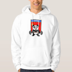 Chinese Weightlifting Panda Men's Basic Hooded Sweatshirt