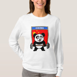 Women's Basic Long Sleeve T-Shirt with Chinese Weightlifting Panda design