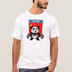 Men's Basic T-Shirt with Chinese Weightlifting Panda design