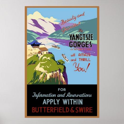 China Yangtsze Gorges Vintage Travel Poster