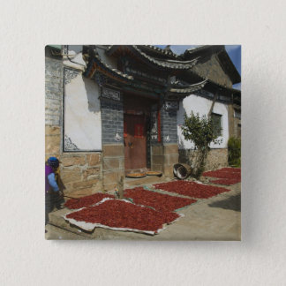 CHINA, Yunnan Province, Tianshengying. Drying Pinback Button