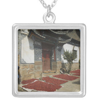 CHINA, Yunnan Province, Tianshengying. Drying Silver Plated Necklace