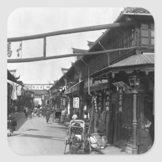 Chinatown in Shanghai, late 19th century Square Sticker