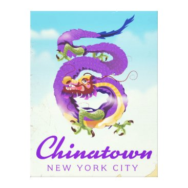 USA Themed Chinatown New York city vintage poster Canvas Print