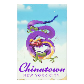 Chinatown New York city vintage poster Stationery