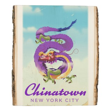 USA Themed Chinatown New York city vintage poster Wood Panel