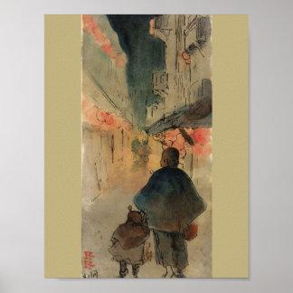 Chinatown San Francisco Night Painting Poster