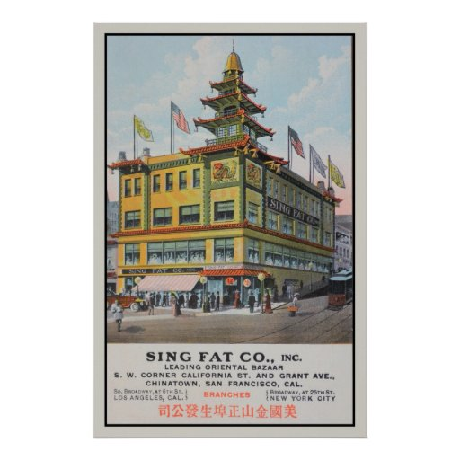 Chinatown San Francisco Sing Fat Co. Poster