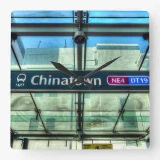 Chinatown Station Singapore Square Wall Clock