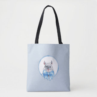 Chinchilla 1. Blue bow Tote Bag