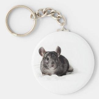 Chinchilla gris linda en manta llavero personalizado
