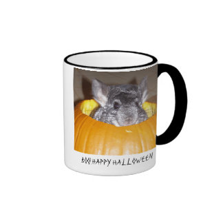 Chinchilla in pumpkin, BOO! HAPPY HALLOWEEN! Ringer Coffee Mug