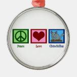 Chinchillas del amor de la paz adorno navideño redondo de metal