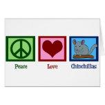 Chinchillas del amor de la paz tarjeton