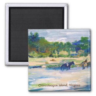 Chincoteague Island Horse Painting 2 Inch Square Magnet
