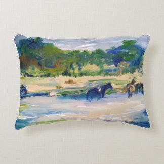 Chincoteague Island Horse Painting Decorative Pillow
