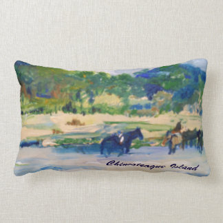 Chincoteague Island Horse Painting Lumbar Pillow