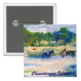 Chincoteague Island Horse painting Pinback Button