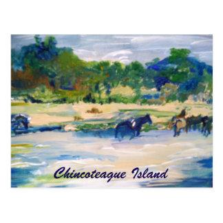 Chincoteague Island Horse Painting Postcard