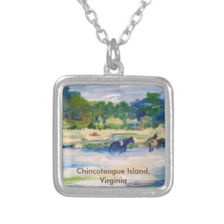 Chincoteague Island Horse Painting Silver Plated Necklace