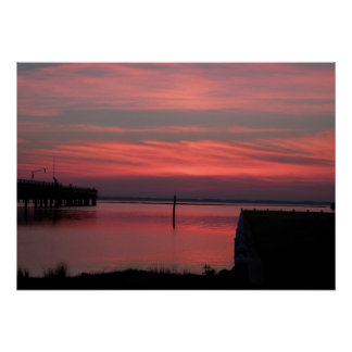 Chincoteague Island Sunset on the water 2 Print