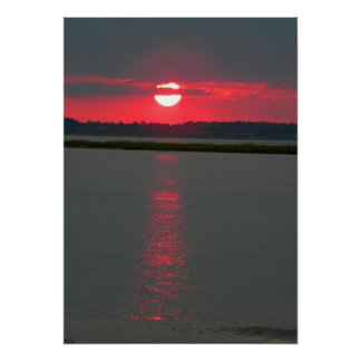 Chincoteague Island Sunset on the water 3 Poster