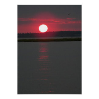 Chincoteague Island sunset on the water 4 Poster