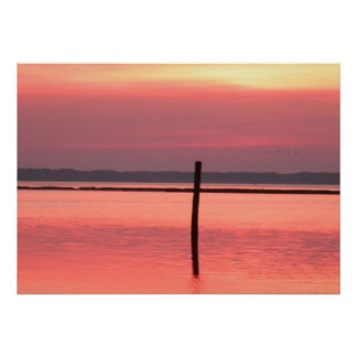 Chincoteague Island Sunset on the water Print