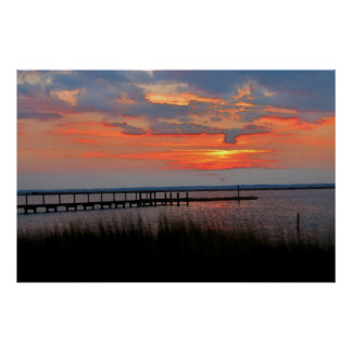 Chincoteague Island Watercolor Poster Print