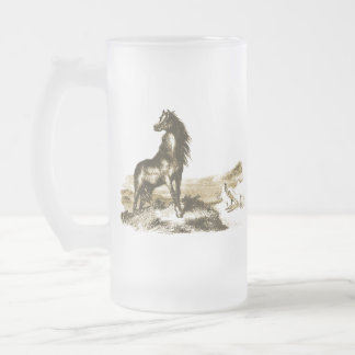 Chincoteague Ponies Frosted Glass Beer Mug