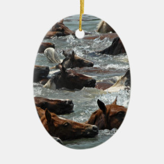 Chincoteague Pony Swim Ceramic Ornament