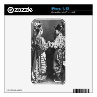 Chinese actors from behind, c.1870 (b/w photo) decals for iPhone 4S