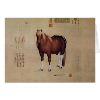 Chinese Ancient Papyrus With Horse Painting Card