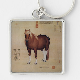 Chinese Ancient Papyrus With Horse Painting Keychain