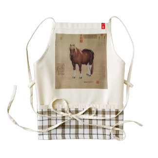 Chinese Ancient Papyrus With Horse Painting Zazzle HEART Apron