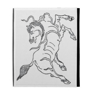 Chinese ancient sea horse black and white iPad folio cover