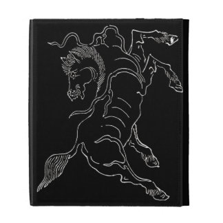 Chinese ancient sea horse white and black iPad folio cases