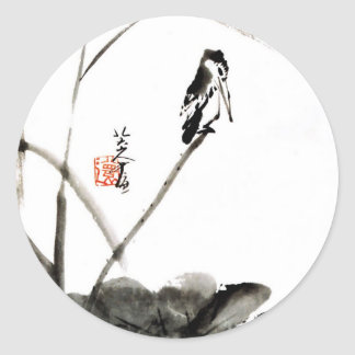 Chinese ancient watercolor paintings round stickers
