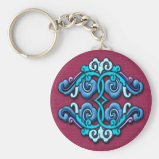 Chinese arabesque ornament blue keychain