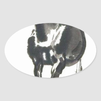 Chinese Art - Horses Oval Sticker