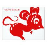 "Chinese Astrology Rat Illustration 4.25"" X 5.5"" Invitation Card"