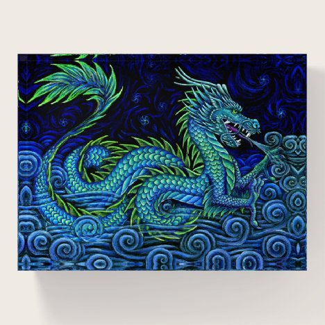 Chinese Azure Dragon Glass Paperweight