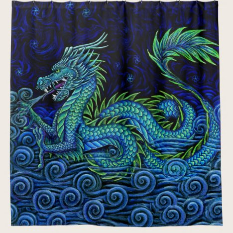 Chinese Azure Dragon Left Facing Shower Curtain