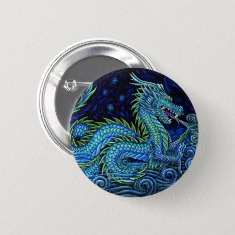 Chinese Azure Dragon Pin Back Button