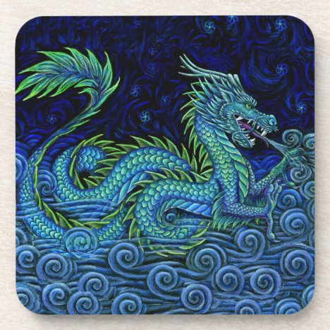 Chinese Azure Dragon Plastic Coasters