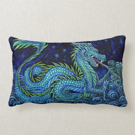 Chinese Azure Dragon Rectangular Throw Pillow