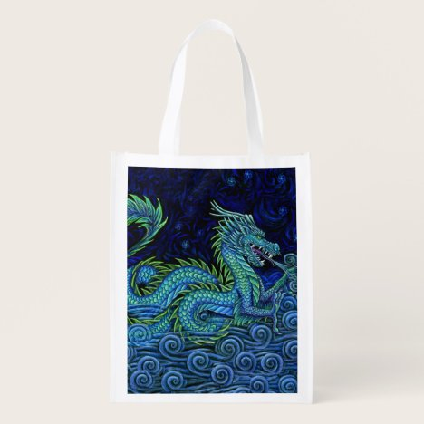 Chinese Azure Dragon Reusable Grocery Bag
