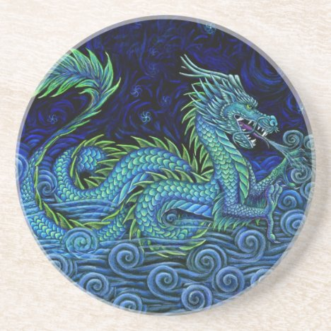 Chinese Azure Dragon Round Stone Coaster
